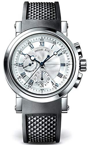 Breguet Marine Silver Dial Black Rubber 18kt White Gold Mens Watch 5827BB125ZU