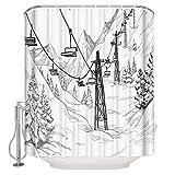 DHYWGS Snow Mountain Cable Car Duschvorhang Bad Vorhang Polyester Bad Vorhang Waschbar Home Bath Decor-200cm*180cm