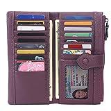 Women RFID Blocking Multi Credit Card Holder Genuine Leather Bifold Slim Wallets with Zipper Pocket(Deep Plum)