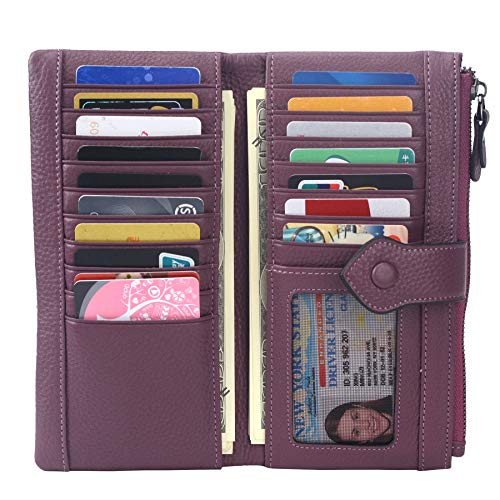 Women RFID Blocking Multi Credit Card Holder Genuine Leather Bifold Slim Wallets with Zipper Pocket(Deep Plum)