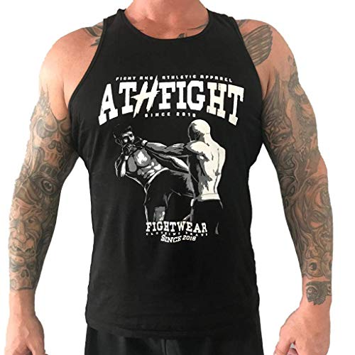 ATHFIGHT Sport Tank Top Muskelshirt für Training Kraftsport,Gym,Fitness & Bodybuilding und Freizeit (schwarz, m)