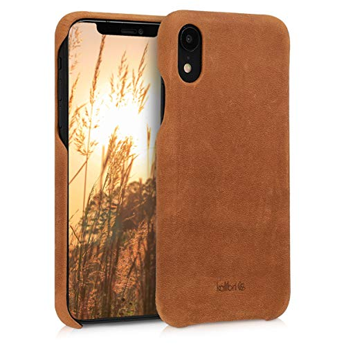 kalibri Case Compatible with Apple iPhone XR - Case Smooth Genuine Leather Hard Case Anti Slip Cover - Light Brown