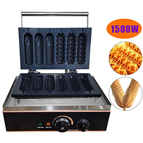 Waffelgerät 1500W Waffle Maker Machine 6 Stück lolly waffle hotdog maker Waffelmaschine Waffeleisen for Waffle Making and Sausage Corn Baking Anti-Haftbeschichtung
