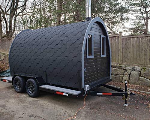 BZBCabinsAndOutdoors.com Trailer Barrel Sauna Kit Igloo 40, 8 Person Outdoor Sauna with Stoveman13 Wood Burning Heater