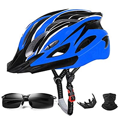 Jiffwind Adult Cycling Bike Helmet for Men Women Removable Sun Visor Safety Protection Adjustable Lightweight Helmet with UV400 Protection Polarized Sport Sunglasses and Face Mask (Blue)