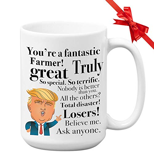 Donald Trump Coffee Mug - 15 Oz Tea Cup Gift Ideas For Farmer Rancher Grower Breeder Birthday Christmas Present President Conservative Republican