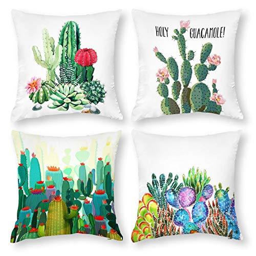 K-SLWX Juego de 4 fundas de cojín decorativas de 45 x 45 cm, diseño tropical de cactus y flores, cojín decorativo con cremallera oculta, para el hogar, sofá, dormitorio, exterior