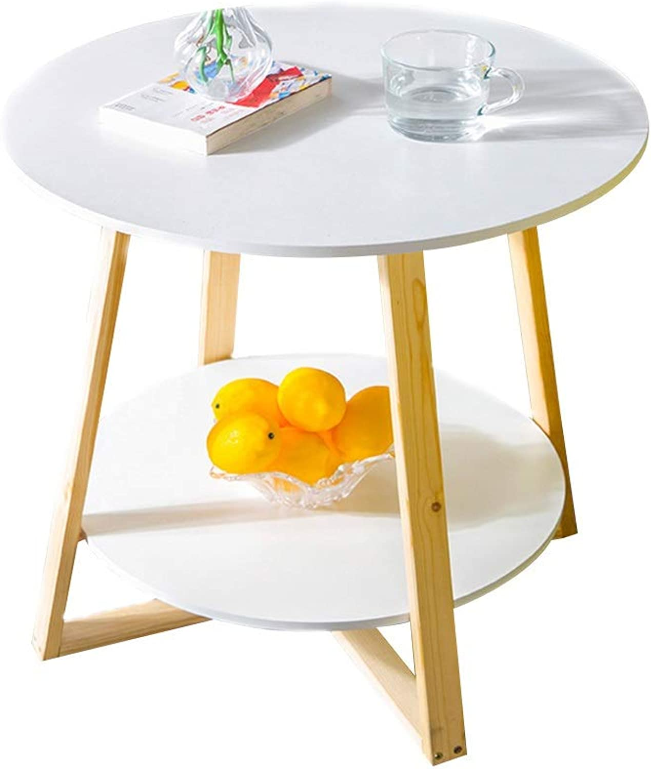 Table Coffee Table, Double Storey Small Apartment Sofa Side Table Multipurpose Small Round Table Nordic Household Small Tea Table in The Living Room (color   White)