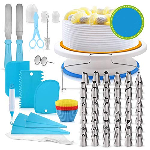Cupcake Decorating Tools Baking Supplies Set for Cake Lovers,Cake Turntable stands,Piping Tips & Bags,Icing Smoother & Spatulas Blue