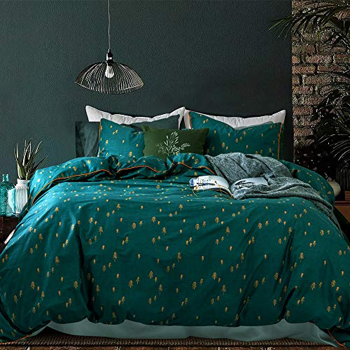 Opcloud Bedding Duvet-Cover-Set, King Green Pine Pattern...