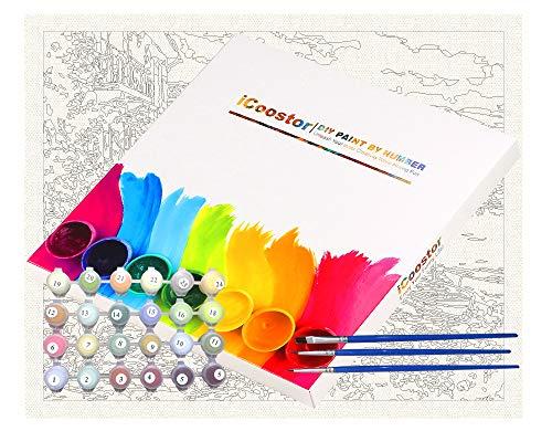 Kit de pintura acrílica para niños y adultos de iCoostor – 16 pulgadas x 20 pulgadas Silent Harbor patrón con 3 pinceles y colores brillantes