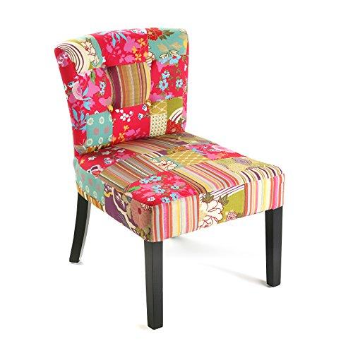 Versa Pink Patchwork Silla Acolchada tapizada para Salón o Comedor, Madera, algodón, Rosa, Verde, Azul, Beige y Morado, 73 x 64 x 50 cm