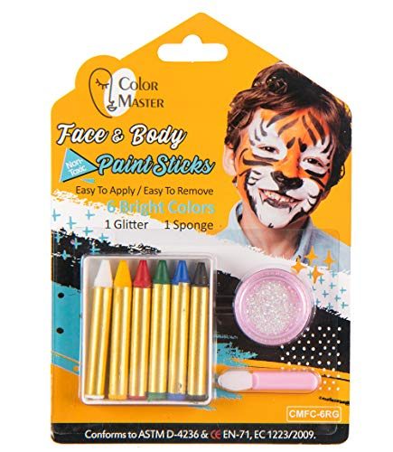 ColorMaster Face Paint Crayons Kits for Kids– 6 Bright Colors, Body Painting Set Including 6 Colors Crayon, 1 Glitter, 1 Sponge, Non-Toxic and Paint for Halloween Makeup, Party