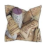 FANTAZIO - Bufanda de corcho de vino con patrón de corchos de vino ligero y envoltura para la cabeza para niñas con forma cuadrada