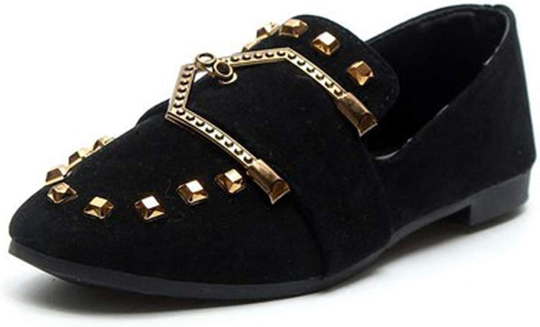 JOYBI Women Fashion Loafers Rivet Comfortable Metal Decorations Non Slip Cozy Casual Square Toe Flat shoes