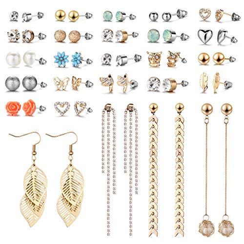 29 Pairs Assorted Multiple Stud Earrings set for Women Girls Simple Hoop earring set Girl's jewelry  Amazon.com  (E0848-1)