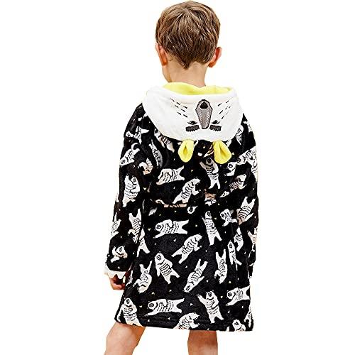 Bata de baño para niño, con capucha para niños, de franela suave, kimono de baño con capucha para niños, Negro+Oso blanco, 6 Años
