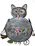 verschiedene lustige Motiv-Briefkasten aus Metall mit/Ohne Zeitungs-rolle Fach, abschließbar mit 2 Schlüssel Motive Eule Hund Frosch Katze Hexe Metallbriefkasten (Briefkasten Eule)