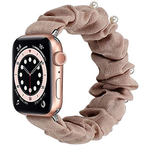 Miimall Scrunchie Correa Compatible con Apple Watch Series SE/6/5/4/3/2/1 38mm 40mm, Suave Tela Estampada Correa Elástica de Repuesto para Apple Watch 38mm 40mm - L Perla