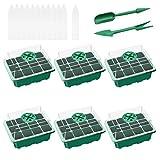 Ledeak 6 Pcs Caja de plántulas de 12 Agujeros, Bandejas Semilleros de Germinacion de Plastico Bandejas de Inicio de Plántulas con Domo Ajustable de Humedad Invernadero Cubierta Transpirable(Verde)