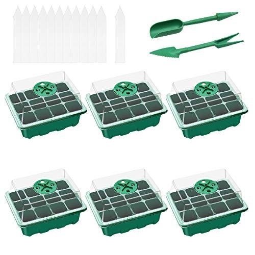 Ledeak 6 Stück 12 Löchern Zimmergewächshaus Anzuchtkasten, Keimling-Tablett Samen Propagator Tablet Gewächshaus Anzuchtset mit Einstellbaren Feuchtigkeit Dome Seedling Tablet(Grün)