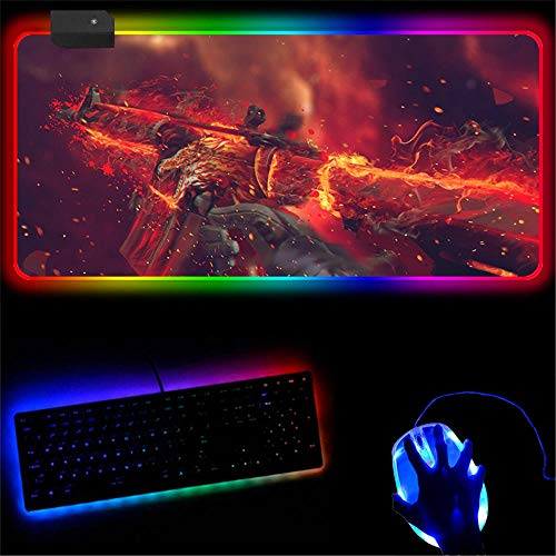 Alfombrilla de ratón RGB grande para videojuegos cs XXL RGB LED antideslizante base de goma para ordenador portátil PC escritorio A 800 x 300 mm
