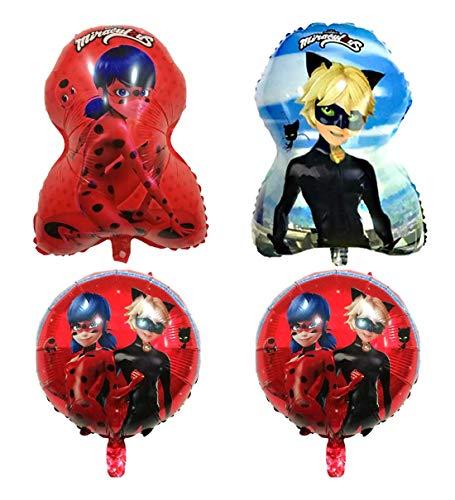 Pack 4 Globos Lady Bug / Cat Noir Medida 60cm / 45 cm Metalizados Aptos para ser inflados con Helio