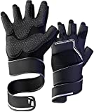 Jaffick Gym Gloves for Men Fingerless Weight Lifting Glove with Wrist Support Workout Cycling Mitten for Crossfit Exercise Fitness (Black, Large)