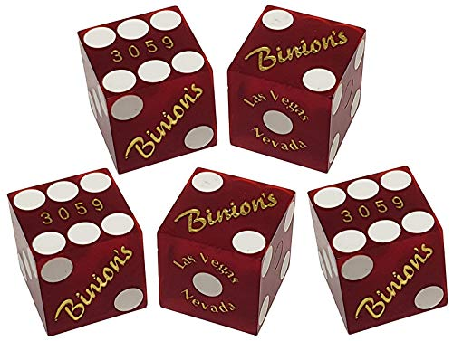 Set of 5 Authentic Las Vegas Casino Table-Played 19mm Craps Dice with Matching Serial Numbers (Binion's (Red Frosted))