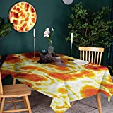 KaMiao Household Retangle Tablecloth Oil Resistant Hot Burning Lava W60 x L84 Holiday Table Cover Polyester Tablecloths for Rectangle Tables
