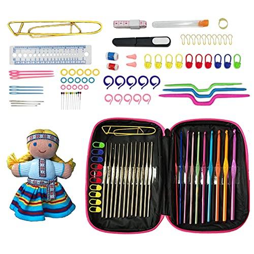 Navani Crochet Hook Crochet Hook Set,22 Sizes 100Pcs Ergonomic Crochet Hook Set Crochet Kit for Beginners