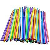 HuiBOYS 100/200 pajitas de plástico para beber de 8 pulgadas de largo, multicolor, a rayas