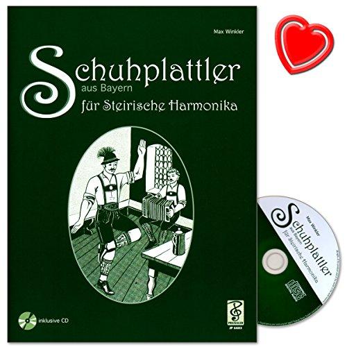 Schuhplattler aus Bayern für steirische Harmonika - Griffschrift - Autor Max Winkler - Noten mit CD und bunter herzförmiger Notenklammer