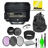 Nikon AF-S NIKKOR 50mm f/1.8G Lens USA (2199) with Bundle Package Deal Kit Includes: 3PC Filter Kit + Deluxe Lens Cleaning Kit + More