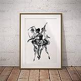 Danjiao Aquarell-Ballerina Im Tanz-Leinwand-Wand-Kunst-Druck-Plakat Abstrakte Ballerina-Tänzer-Plakat-Wand-Schwarzweiss-Bilder Wohnzimmer 40x60cm