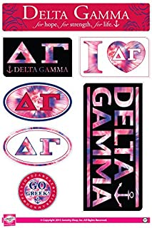 Delta Gamma - Sticker Sheet - Tie Dye Theme