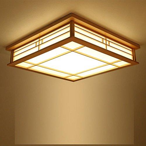 Lightoray LED Deckenleuchte Badezimmer Lampen Deckenlampe Im japanischen Stil aus massivem Holz Lampe Tatami Lampe im japanischen Stil Wohnzimmer Schlafzimmer Balkon Lampe, warmes Licht, 45 CM