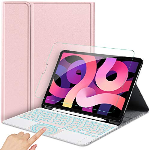 IVSO Kompatibel mit iPad Air 4 10.9 Zoll 2020 Tastatur Hülle [QWERTZ Deutsches], Panzerglas, Magnetisch Kabellose Wireless Tastatur mit Touchpad und Beleuchtete, Roségold