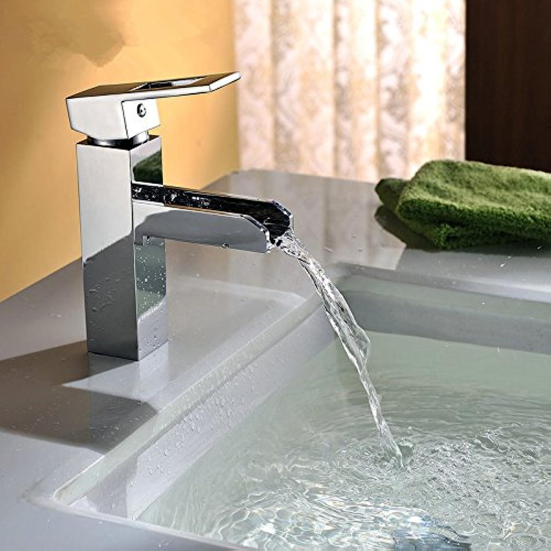 Bijjaladeva Wasserhahn Bad Wasserfall Mischbatterie Waschbecken Waschtisch Armatur für BadDie Heissen und Kalten Becken aus Kupfer Wasserhahn Einzigen Griff Einzelne Bohrung