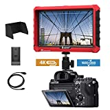 E7S 7 Inch DSLR Camera Field Monitor 1920x1200 IPS Camera-top Screen Supports 4K HDMI Input and Output Compatible Sony A7S II A6500 Panasonic GH5 Canon 5D Mark Camera with F970 LP-E6 Battery Plate
