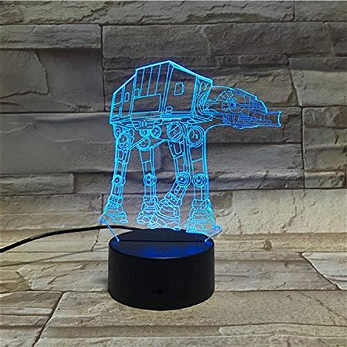 Personalisatie van de 7 kleuren LED bureaulamp met afstandsbediening voor 3D nachtlampje comic leger, voertuigen