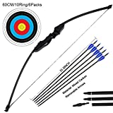 DOSTYLE Archery Takedown Recurve Bow and Arrow Set Hunting Long Bow Kit for Outdoor Shooting Training(40LB,5 Arrows,6 Target Faces)