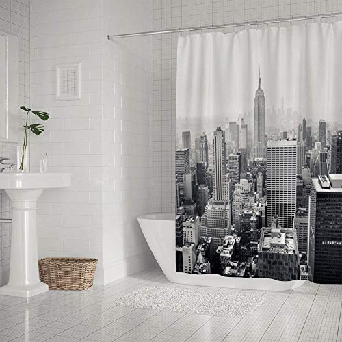 LifeCustomize Empire State Building Landscape Shower Curtain 66x72 Inch Polyester Waterproof Fabric Bathroom Curtain with Hooks