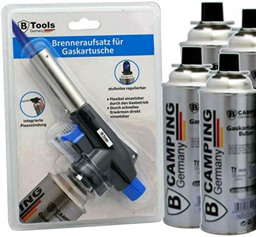 TronicXL Hand Unkrautbrenner + 4 Kartuschen Butangas - Unkrautvernichter Gasbrenner Abflammgerät Gas Unkrautverbrenner Flammenwerfer mit Piezo Zündung