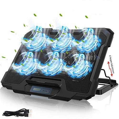 """YockTec Refroidisseur PC Portable, 11'-17"""" avec Refroidisseur PC pour Ordinateur Portable, 6 Ventilateurs Hauteur Réglage, équipé de 2 Ports USB, Refroidissement Rapide et Puissant de Support Ventil"""