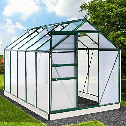 BRAST Gewächshaus Aluminium mit Fundament rostfrei 310x190x195cm Grün 6mm Platten 37 Modelle Alu Treibhaus Glashaus Tomatenhaus