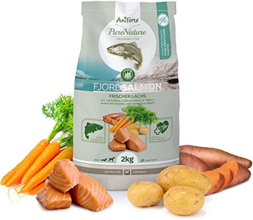 AniForte Natürliches Hunde-Futter Trockenfutter Fjord-Salmon 2kg, Frischer Lachs mit Kartoffeln, 100{6de113d79b351a7e20a653d627af047e026c1e3b96369d1a427245898ea6e74b} Natur, Allergiker, Getreide-Frei, Glutenfrei, Ohne Chemie, künstliche Zusätze und Vitamine