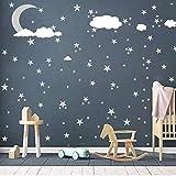 Jackallo Adesivo da Parete per vivaio, Decalcomanie da Muro Nuvole Luna e Stelle Adesivo da Parete Kids Baby Room Decoration Nursery Wall Decor