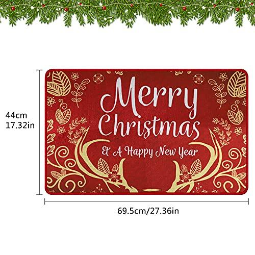 Felpudo navideño Alfombras antideslizantes impresas Feliz Navidad Alfombra estampada Alfombra de la puerta del piso para la entrada Sala de estar Dormitorio Baño Decoración de la habitación rojo
