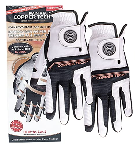 CopperTech Women's Golf Gloves 2 Pack - One Size Fits Most - Worn on Left Hand for The Right Handed Golfer (White/Black)